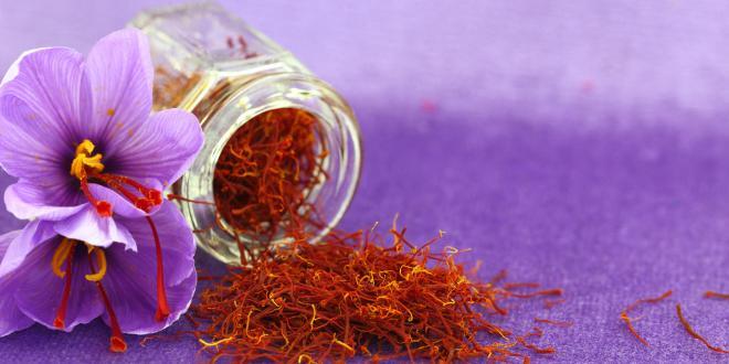 A small jar of saffron next to a saffron flower